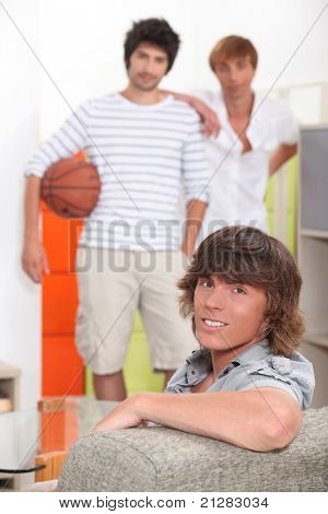 Guys waiting to play basketball
