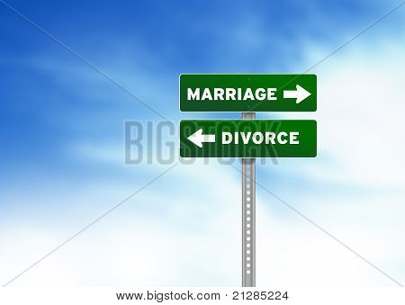 Marriage And Divorce Road Sign