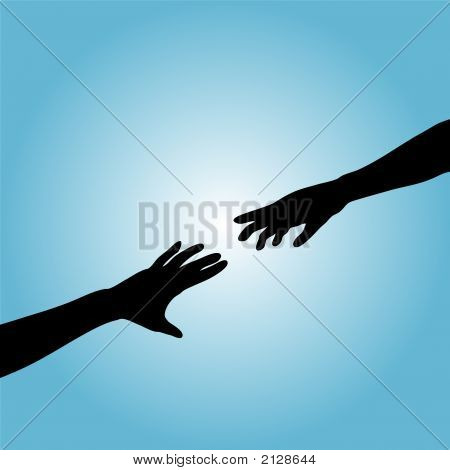 Hands Couple Silhouette Reach