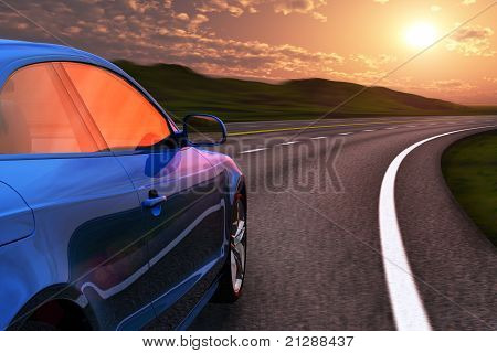 Carro azul dirigindo pela autobahn no pôr do sol com o movimento borrão