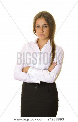 Geschäftsfrau mit ihre Arme verschränkt