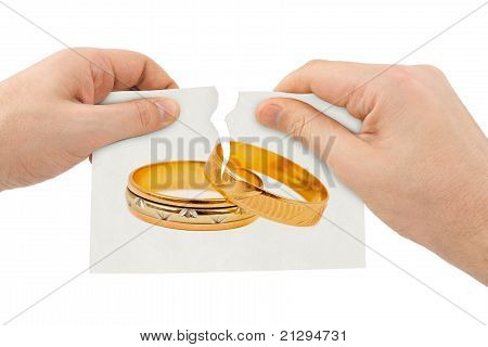 Hands Tear Picture With Wedding Rings