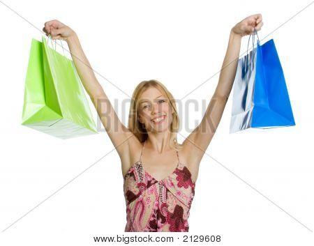 aufgeregt shopping woman