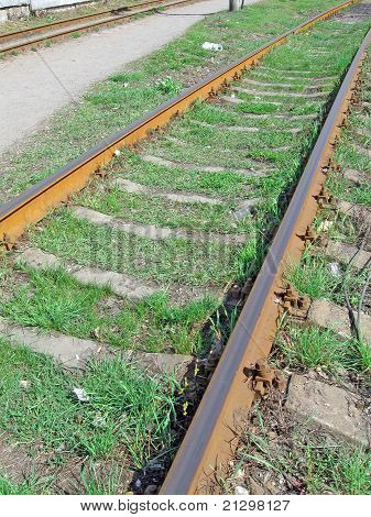 Rusty Train Rail And Green Grass