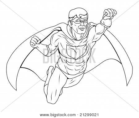 Monochrome Superhero Illustration