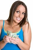 foto of holding money  - Lovely young white female teenager holding money - JPG