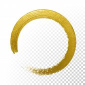 Gold Circle Glitter Texture Paint Brush On Vector Transparent Background poster