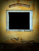 Dark Window In Weathered Yellow Plaster Wall, Venice, Italy, With Space In Center For Text Or Image  poster