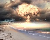 Nuclear explosion in an outdoor setting. Symbol of environmental protection and the dangers of nucle