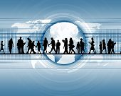 picture of person silhouette  - business people standing against world map background - JPG