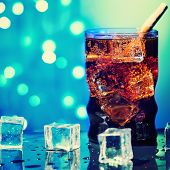 Cola In Drinking Glass With Ice Cube Sweet Sparkling Carbonated Drink Beverage Fast Food With Big Ca poster