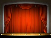 picture of curtains stage  - Empty stage with red curtain in expectation of performance - JPG