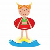 Cartoon Little Girl With A Lifeline poster