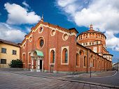 stock photo of milan  - Santa Maria delle Grazie is a famous church and convent in Milan included in the UNESCO World Heritage sites list - JPG