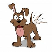 picture of happy dog  - A happy cartoon puppy wagging his tail - JPG