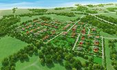 picture of farm landscape  - Small green village from above - JPG
