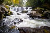 stock photo of backwoods  - Wild Chattooga River Headwaters Geology Western NC Flowing Waterfall Nature near Highlands North Carolina Blue Ridge Mountains - JPG