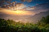 foto of blue ridge mountains  - Sunrise Blue Ridge Mountains Scenic Overlook Nantahala Forest Highlands NC in southern Appalachians Spring - JPG