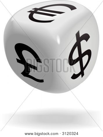 Financial Dice Cube Euro Dollar Pound Symbol.Eps