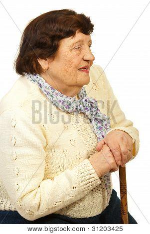 Senior Woman With Cane Thinking