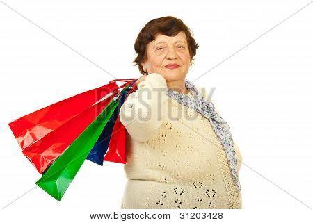 Elderly Woman At Shopping