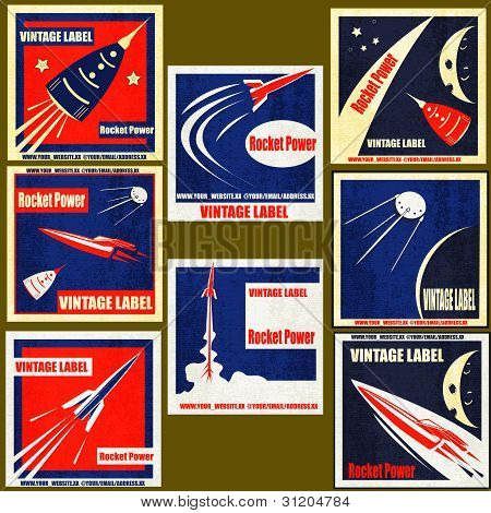 Retro Space Rockets Vintage Labels