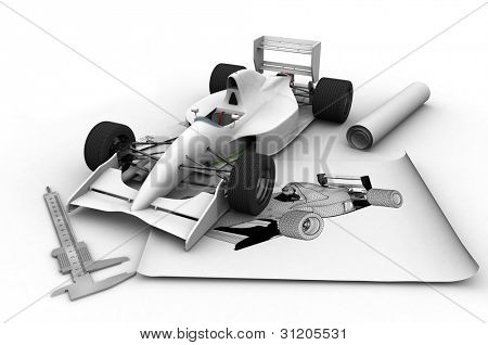 Machine model and drawing on a white background.