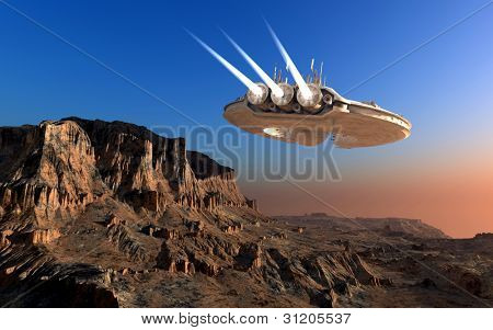 Spacecraft over the mountainous terrain of the planet.