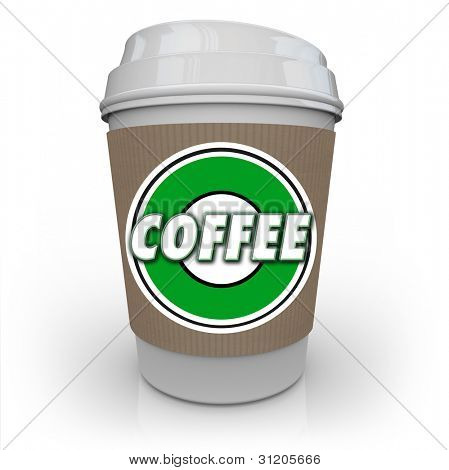 A cup of coffee from a store or restaurant with a holder sleeve and logo with the word Coffee on it to help wake you up in the morning with a jolt of caffeine java