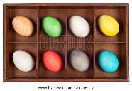 Easter Eggs In Wooden Box
