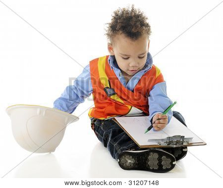 "A tiny, biracial ""construction worker"" drawing plans on a clipboard.  On a white background."