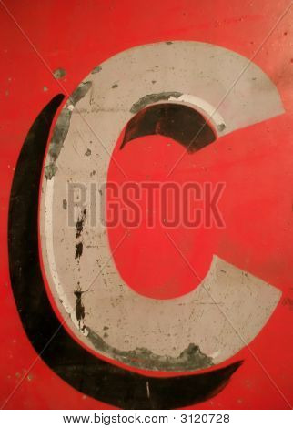 Letter C On Antique Tin Sign