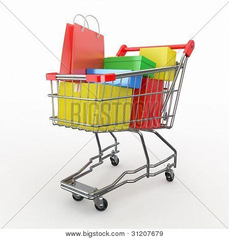 Compra de presente. Carrinho de compras cheio de caixas. 3D