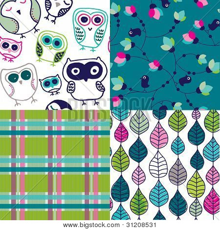 Four easy to edit seamless retro owl bird leaf pattern background in vector