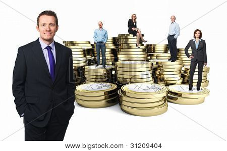 euro 3d coin and businesspeople