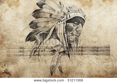 Tattoo sketch of American Indian tribal chief warrior