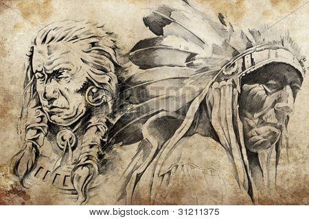 Tattoo sketch of American Indian warriors, hand made