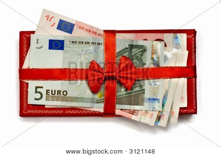 Euro Banknotes with gift Ribbon