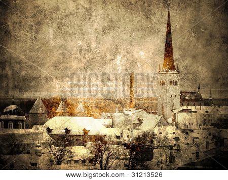 Old Tallinn- vintage and faded postcard
