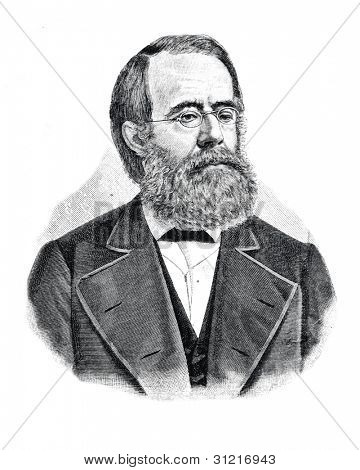 """Academician O. Betling. Engraving by  Shyubler. Published in magazine """"Niva"""", publishing house A.F. Marx, St. Petersburg, Russia, 1888"""