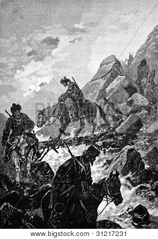 "Hunting for wolves in the mountains of Turkestan. Engraving by Shyubler  from picture by  Karazin. Published in magazine ""Niva"", publishing house A.F. Marx, St. Petersburg, Russia, 1888"