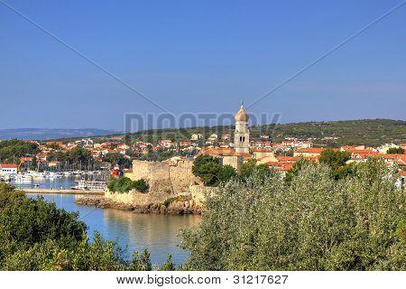 Old Adriatic Town Of Krk Waterfront