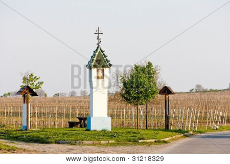 God's torture with vineyard near Velke Bilovice, Czech Republic
