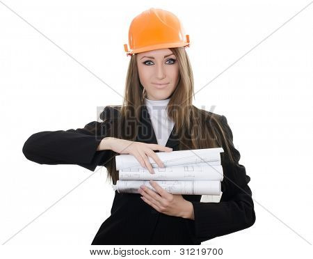 Business woman with projects isolated on white