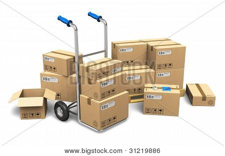Cardboard boxes and hand truck