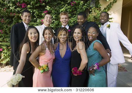 Smiling Teenagers Dressed for School Dance