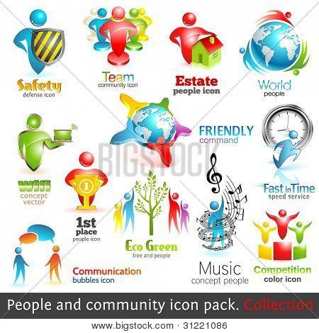 Iconos 3d de la comunidad de personas. Elementos de diseño del vector. Vol. 2