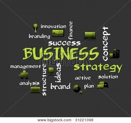 Estratégia de negócios. De fundo vector criativa com ícones.