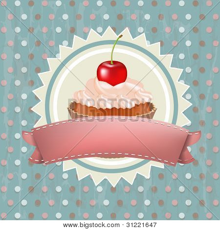 Birthday Cupcake With Cherry, Vector Illustration