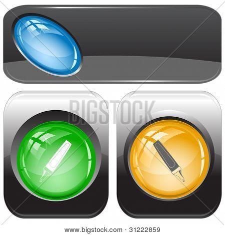 Felt pen. Internet buttons. Raster illustration. Vector version is in my portfolio.